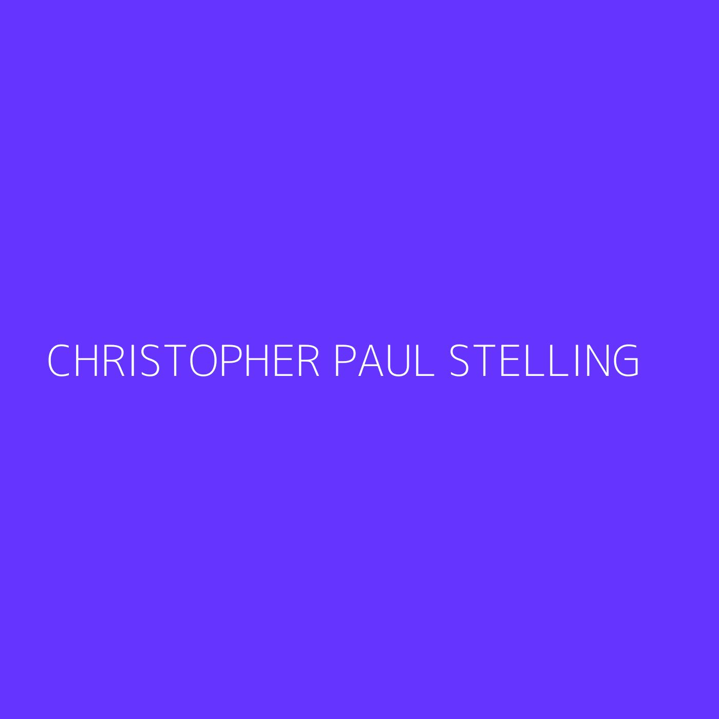 Christopher Paul Stelling Playlist Artwork